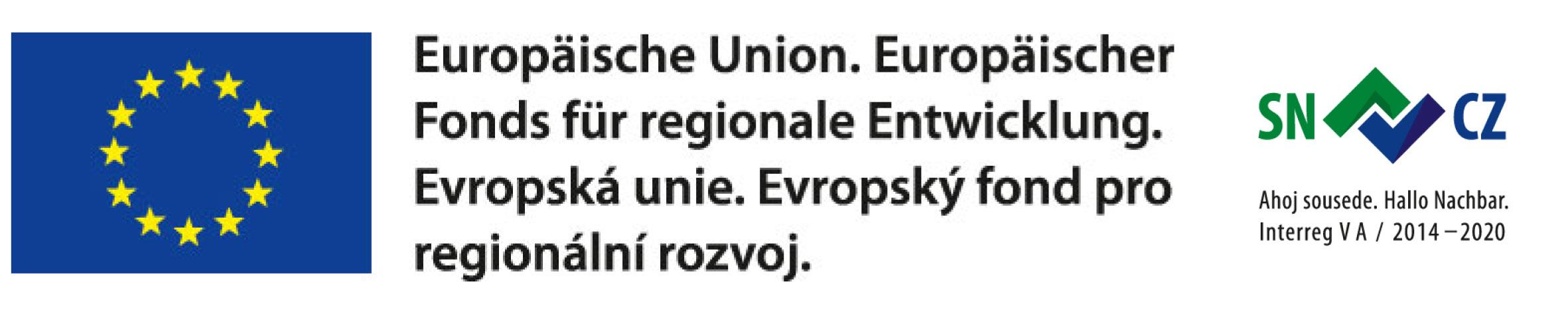 Loga projektu expozice Horolezectví – Logo Evropské unie a Pro horolezce neexistují hranice