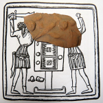 Při poslední evidenci nálezů z hradu Kumburka jsme identifikovali například několik reliéfních typů kachlů z 15. – 16. století. K nejzajímavějším patří motiv tzv. vrhačů vrhcábů. Na ukázce se jedná o motiv, kde jeden z hráčů po tesáku teprve sahá, druhý jej však již bodá do hlavy.