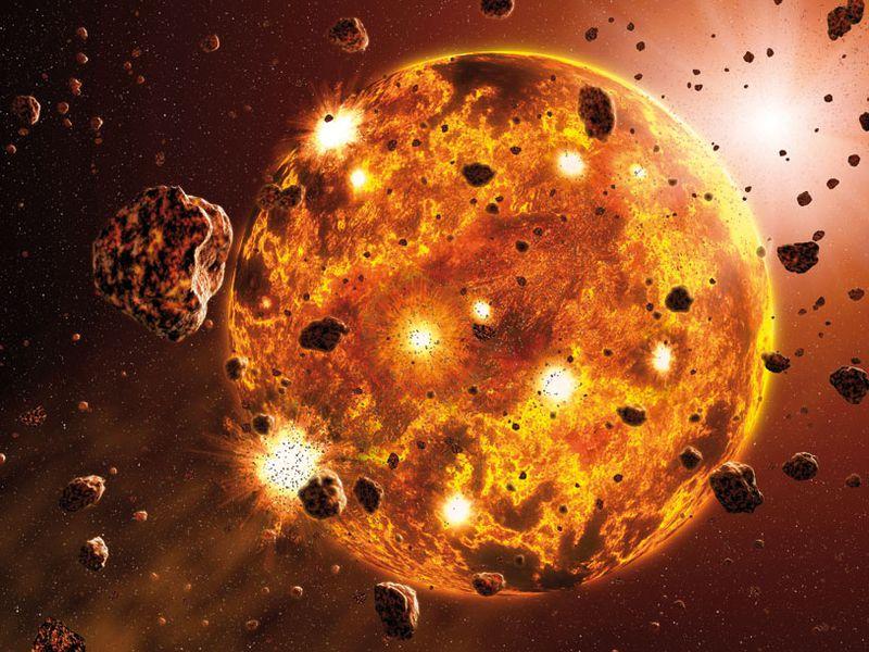 Umělecké vyobrazení vzniku naší Země; zdroj: Alan Brandon / Nature
