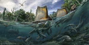 Spinosaurus patřil k největším masožravým dinosaurům jak na souši, tak ve vodě. Autor: Davide Bonadonna, Scientific supervisor: Nizar Ibrahim and Simone Maganuco
