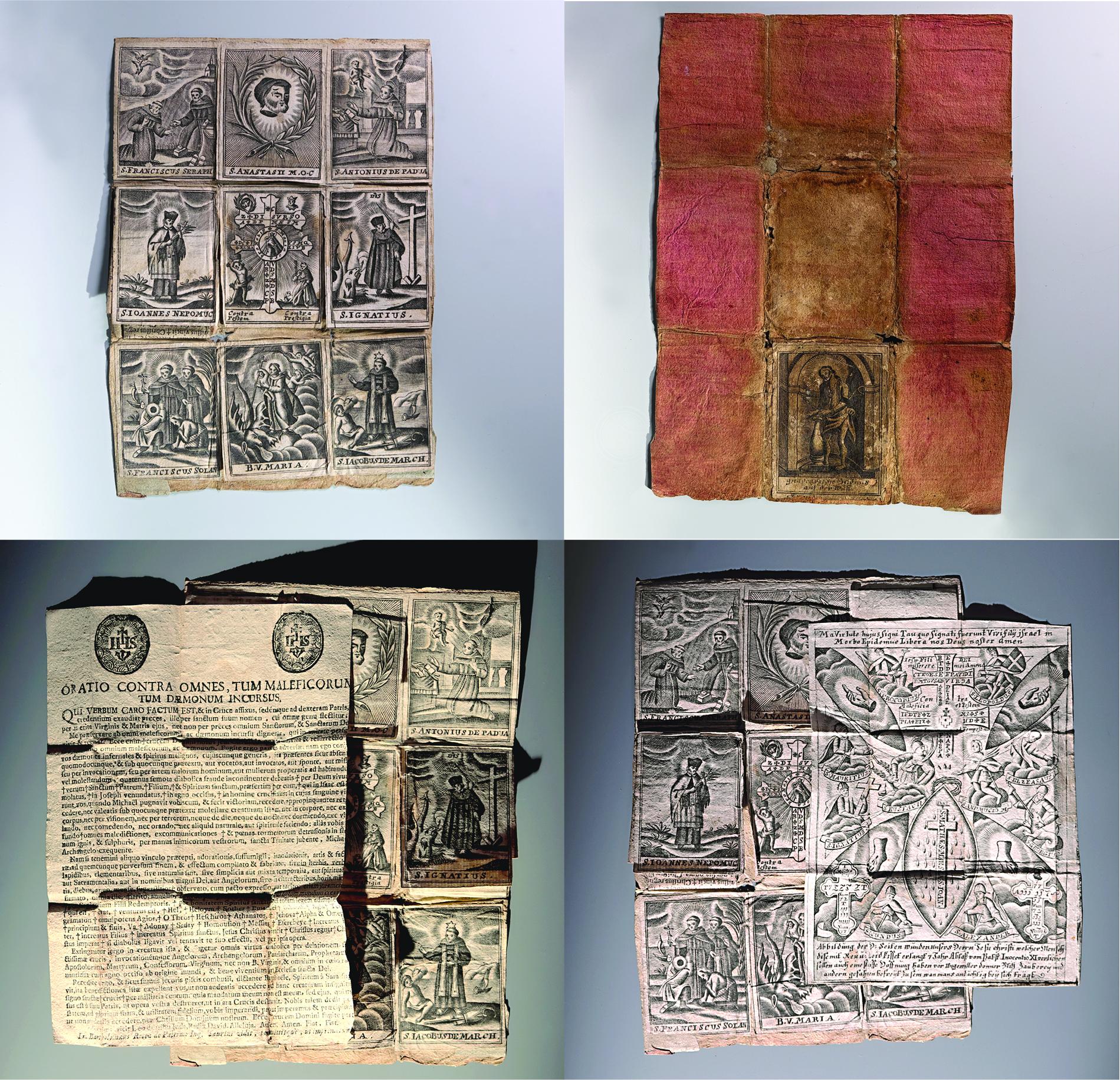 Devítkový políčkový škapulíř tzv. Breverl Tyto škapulíře bývaly zabaleny do pergamenového papíru či plátna a vrchního textilního pouzdra. Tvořil je čtyřikrát přeložený aršík papíru s devíti políčky s nalepenými tištěnými obrázky svatých, sestavenými tak, aby zajistily požehnání a ochranu všeho, co člověk potřeboval k životu. Tuto funkci mělo posílit středové políčko s nalepenými svěceninami, bylinami, svátostkami či modlitbou.