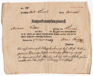 Osvědčení o očkování proti neštovicím (Kuhpockenimpfungsattest)